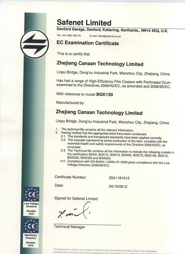 CE Certificate BGK150