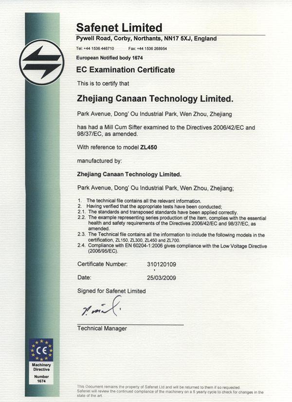 CE Certificate ZL450