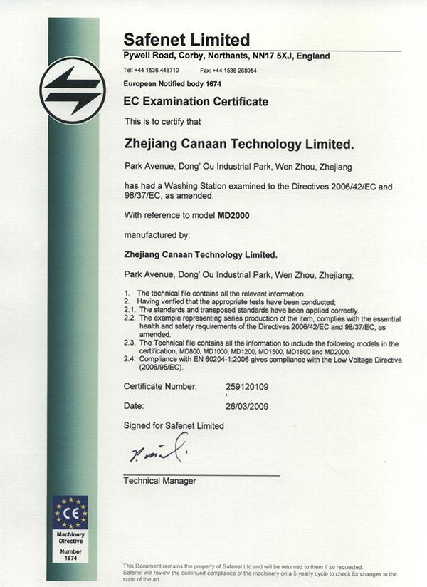 CE Certificate MD2000